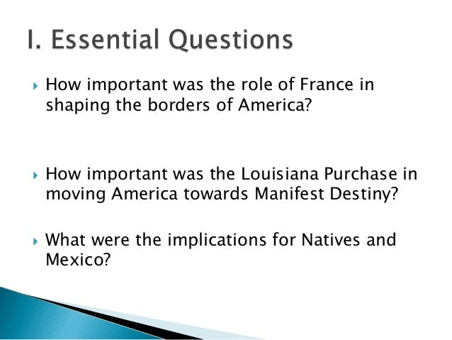 essay questions about the louisiana purchase