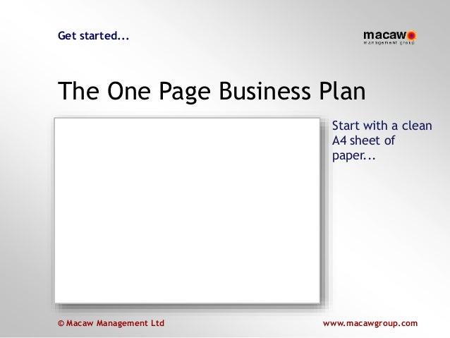 © Macaw Management Ltd www.macawgroup.com www.macawgroup.com© Macaw Management Ltd Get started... The One Page Business Pl...