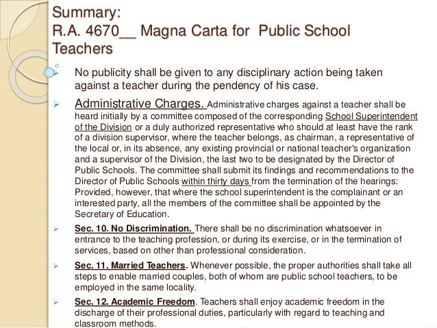 magna carta for philippine public school Manila, philippines - two senators are pushing for the grant of more benefits and incentives to public school teachers to help them cope with the rising cost of goods and their meager compensation.