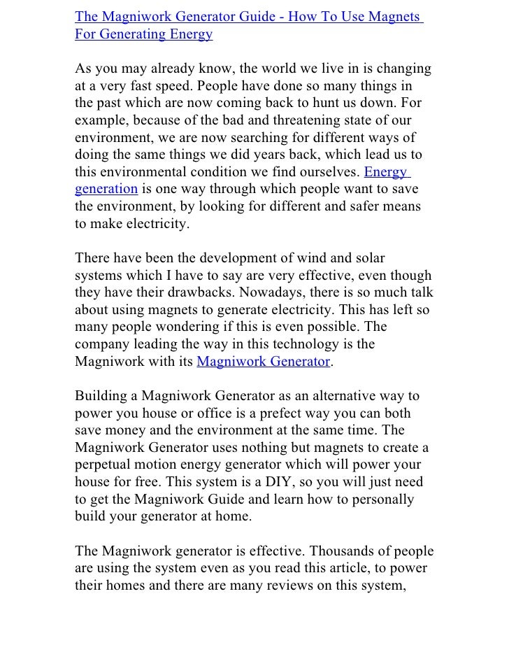 The Magniwork Generator Guide - How To Use Magnets For Generating Energy  As you may already know, the world we live in is...