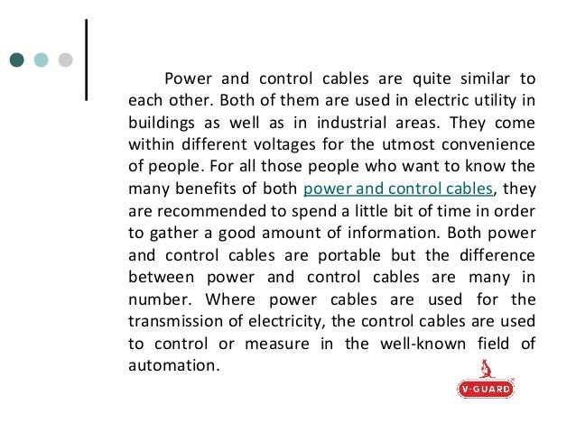 Power And Control Cables : The main differences between power and control cables a