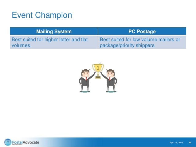 Event Champion Mailing System PC Postage Best suited for higher letter and flat volumes Best suited for low volume mailers...