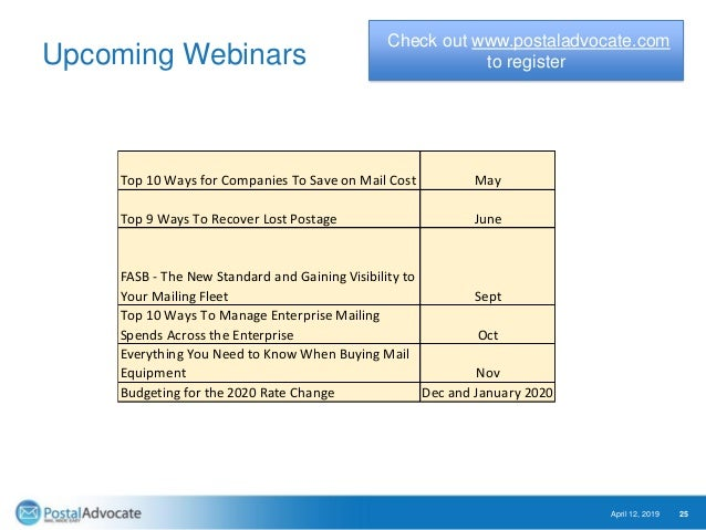 Upcoming Webinars April 12, 2019 25 Check out www.postaladvocate.com to register Top 10 Ways for Companies To Save on Mail...