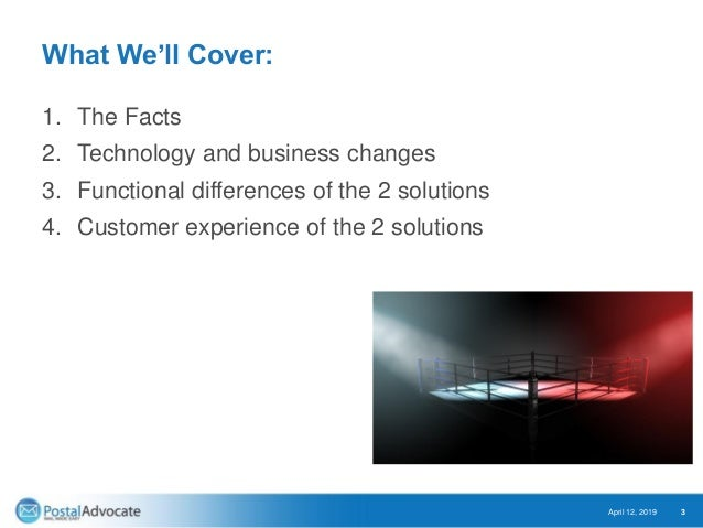 What We'll Cover: 1. The Facts 2. Technology and business changes 3. Functional differences of the 2 solutions 4. Customer...