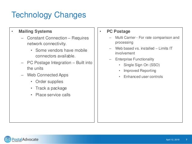 Technology Changes • Mailing Systems – Constant Connection – Requires network connectivity. • Some vendors have mobile con...