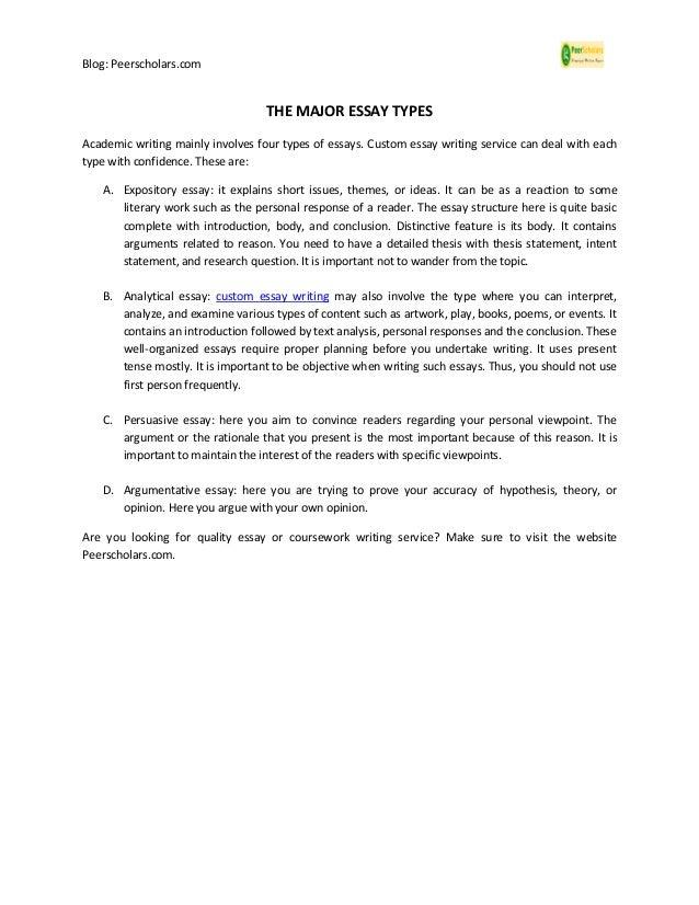 Blog: Peerscholars.com THE MAJOR ESSAY TYPES Academic writing mainly involves four types of essays. Custom essay writing s...