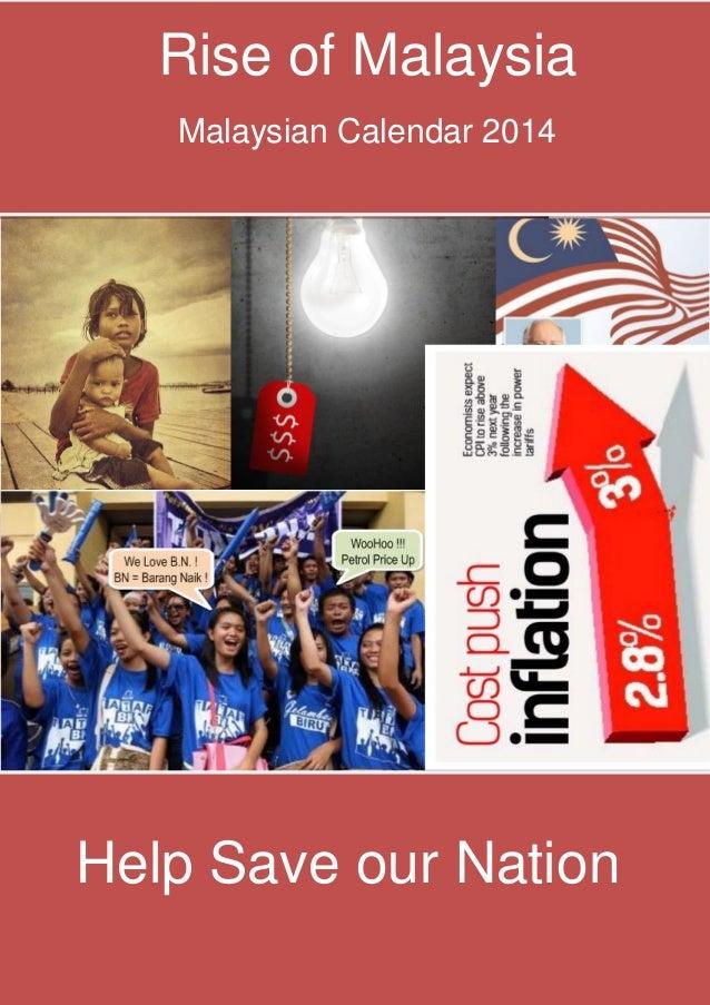 Rise of Malaysia  Rise of Malaysia  Malaysian Calendar 2014  Help Save our Nation Malaysian Calendar 2014