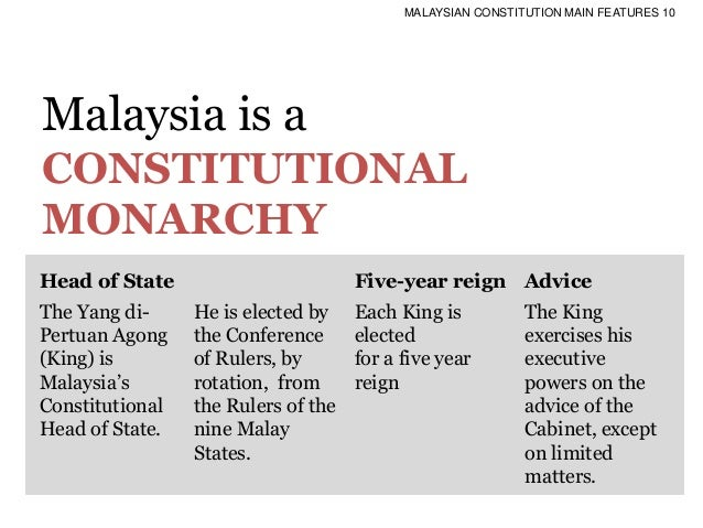 features of malaysian constitution In minerva mills vs union of india (air 1980 sc 1789) the sc by 4 to 1 majority struck down clauses (4) and (5) of article 368 inserted by the 42nd amendment as these clauses destroyed the essential features of the basic structure of the constitution.