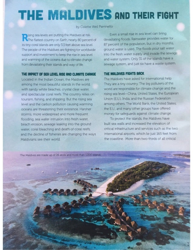 The Maldives and Their Fight Against Rising Seas by Colette Weil Parrinello copyright Cricket Media april 2019