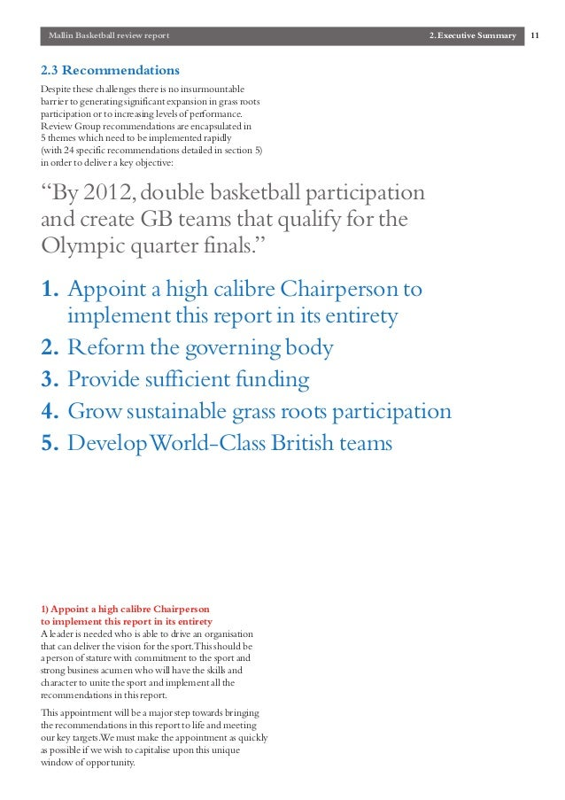 the mallin report british basketball government review 11 mallin basketball