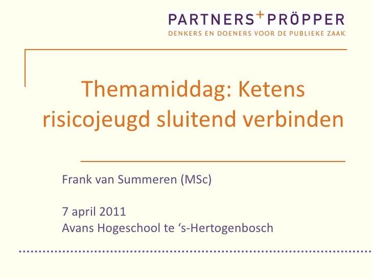 Themamiddag: Ketens risicojeugd sluitend verbinden Frank van Summeren (MSc) 7 april 2011 Avans Hogeschool te 's-Hertogenbo...