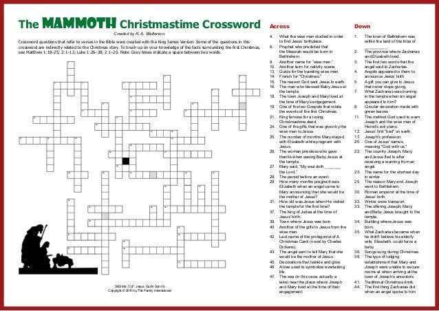 Christmas Crossword.Mammoth Christmas Crossword