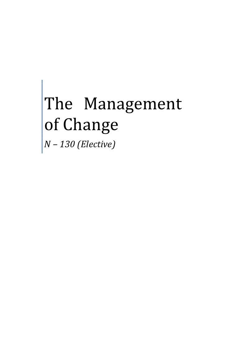 The Managementof ChangeN – 130 (Elective)