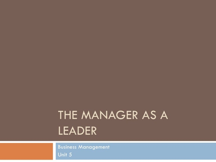 The manager as a leader