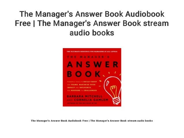 The Manager's Answer Book Audiobook Free | The Manager's Answer Book …