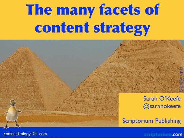 The	  many	  facets	  of	   content	  strategy contentstrategy101.com Sarah O'Keefe