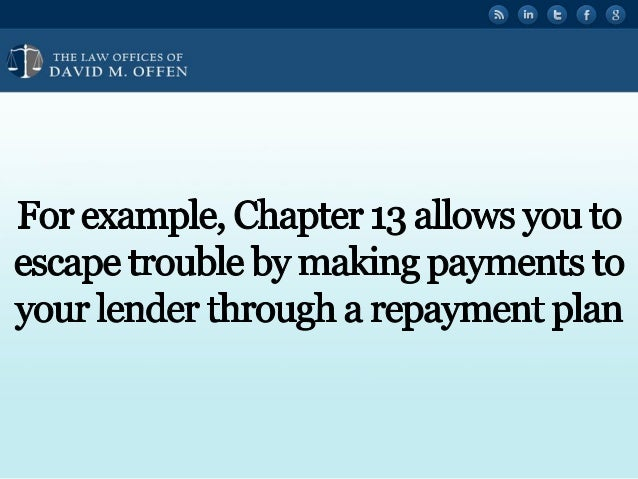 """I fl,   'OFFICES OF ' """" DAVID M.  OFFEN  For example,  Chapter 13 allows you to escape trouble by making payments to your ..."""