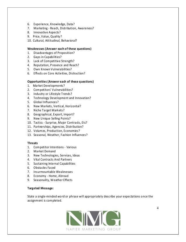 The marketing brief worksheet developed by napier marketing ...
