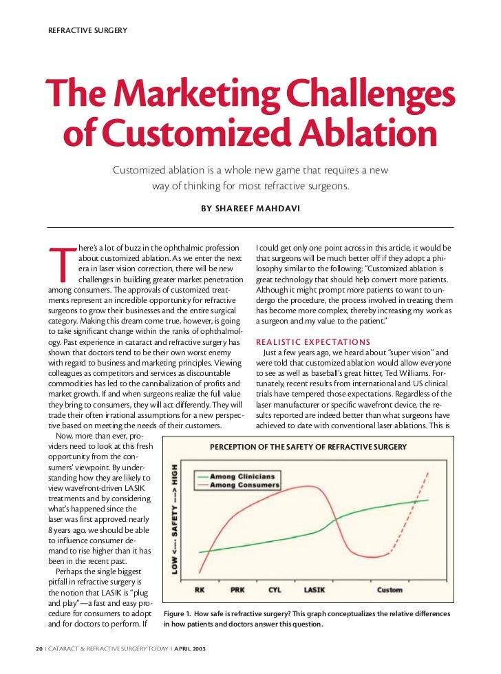 REFRACTIVE SURGERY  The Marketing Challenges   of Customized Ablation                        Customized ablation is a whol...