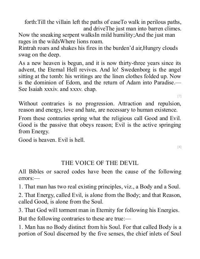 contratries in marriage of heaven and The marriage of heaven and hell essay mobiles short essay.