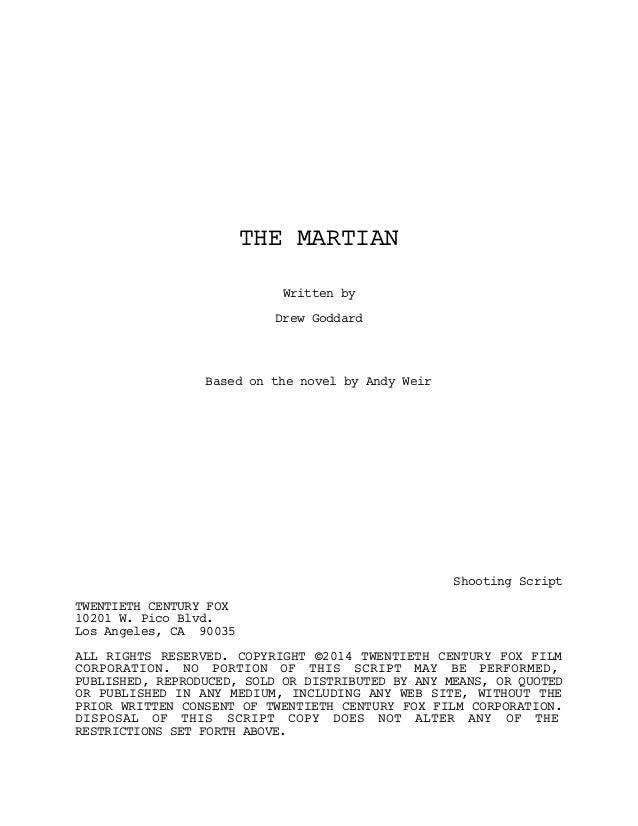 Film Senaryo Örnekleri : Marslı (The Martian Screenplay) Slide 2