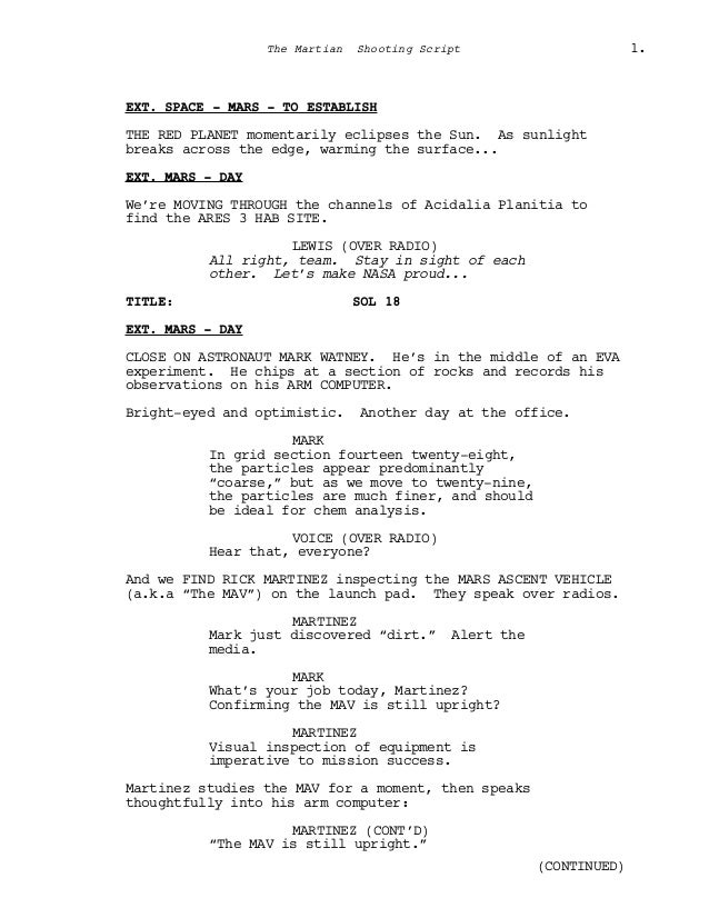 Film Senaryo Örnekleri : Marslı (The Martian Screenplay) Slide 3