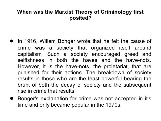 Marxist Theory of Criminology