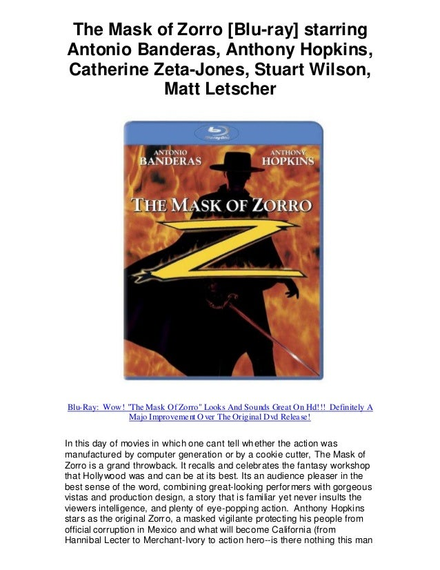 The Mask of Zorro [Blu-ray] starring Antonio Banderas, Anthony Hopkins, Catherine Zeta-Jones, Stuart Wilson, Matt Letscher...