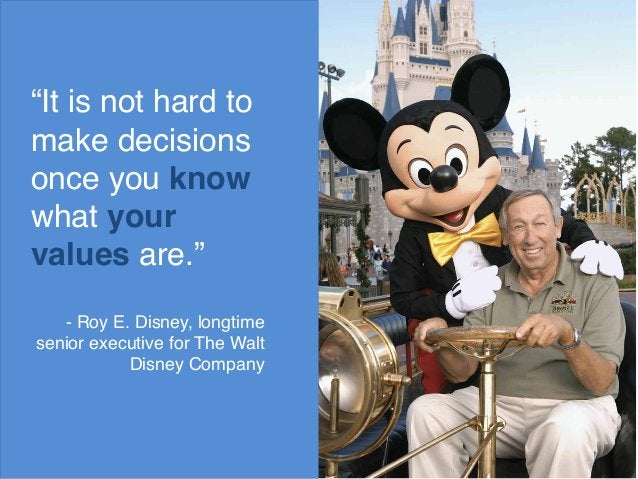 """""""It is not hard to  make decisions  once you know  what your  values are.""""  - Roy E. Disney, longtime  senior executive fo..."""