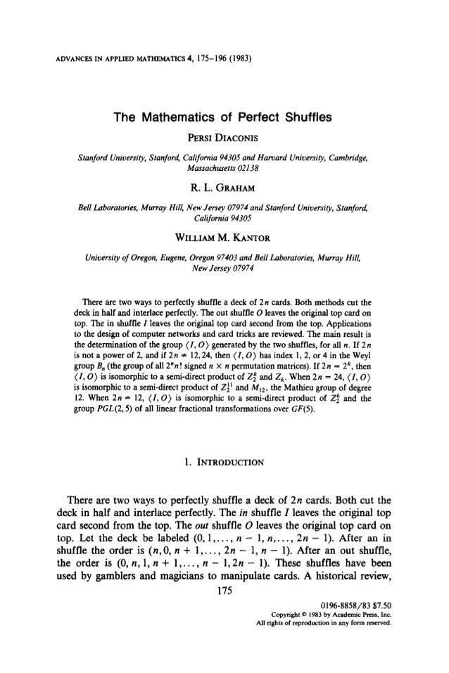 The mathematics of perfect shuffles,perci diaconis, r,l