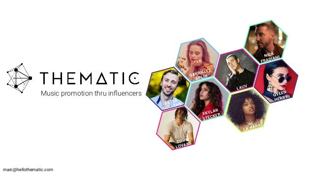 Music promotion thru influencers marc@hellothematic.com