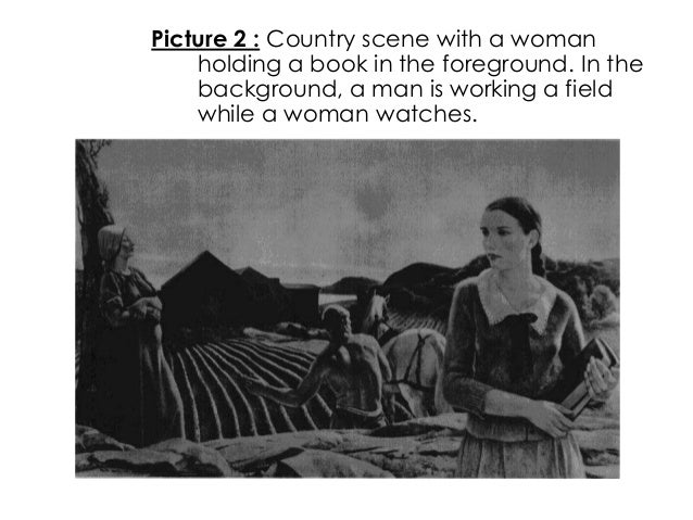 Picture 2 : Country scene with a womanholding a book in the foreground. In thebackground, a man is working a fieldwhile a ...