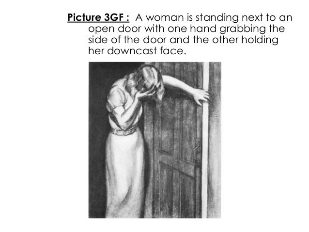 Picture 3GF : A woman is standing next to anopen door with one hand grabbing theside of the door and the other holdingher ...