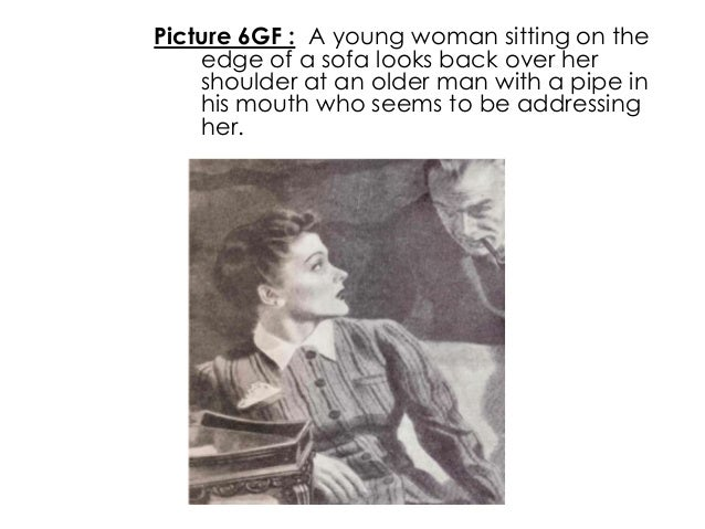 Picture 6GF : A young woman sitting on theedge of a sofa looks back over hershoulder at an older man with a pipe inhis mou...
