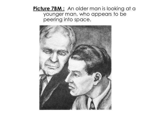 Picture 7BM : An older man is looking at ayounger man, who appears to bepeering into space.