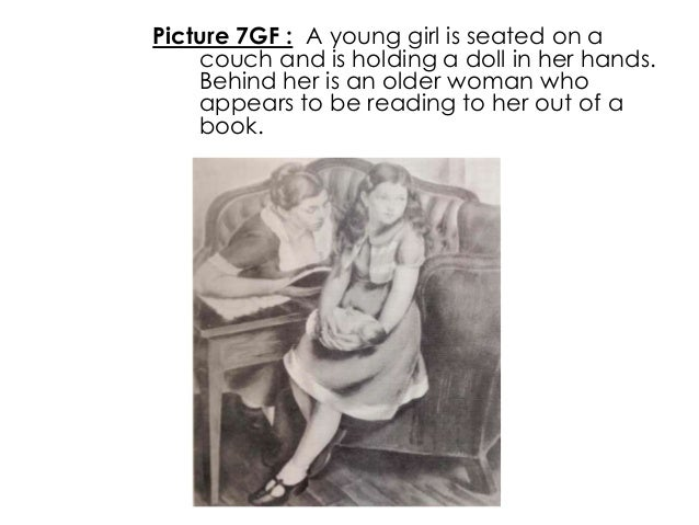 Picture 7GF : A young girl is seated on acouch and is holding a doll in her hands.Behind her is an older woman whoappears ...