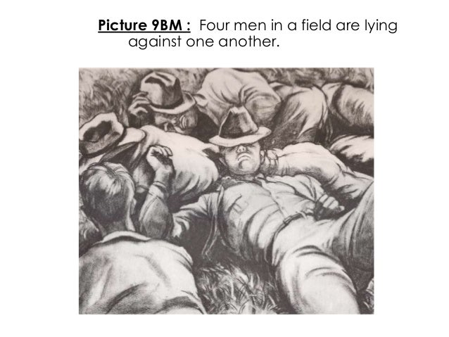 Picture 9BM : Four men in a field are lyingagainst one another.