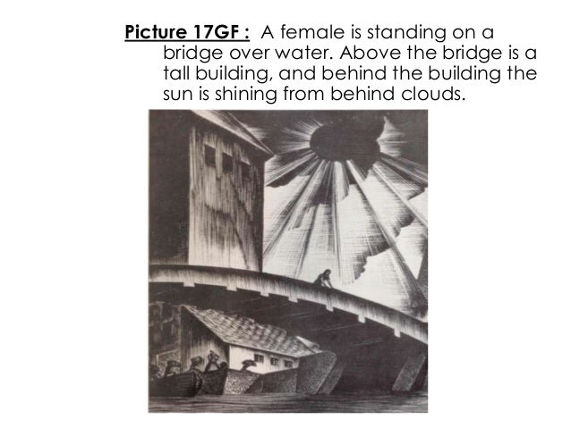 Picture 17GF : A female is standing on abridge over water. Above the bridge is atall building, and behind the building the...