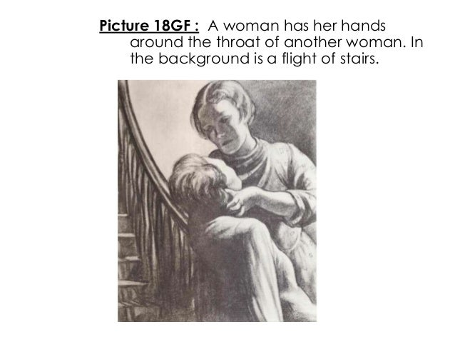 Picture 18GF : A woman has her handsaround the throat of another woman. Inthe background is a flight of stairs.