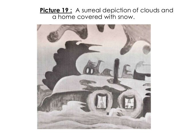 Picture 19 : A surreal depiction of clouds anda home covered with snow.