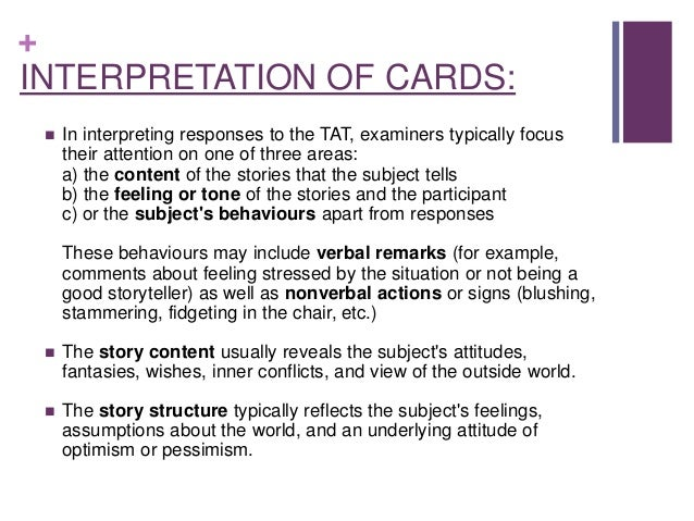 the tat the thematic apperception test Thematic apperception test part 1 ebook thematic apperception test 100+ stories and 60 original tat and ppdt pictures.