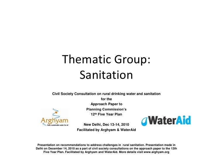 Thematic Group:                     Sanitation           Civil Society Consultation on rural drinking water and sanitation...