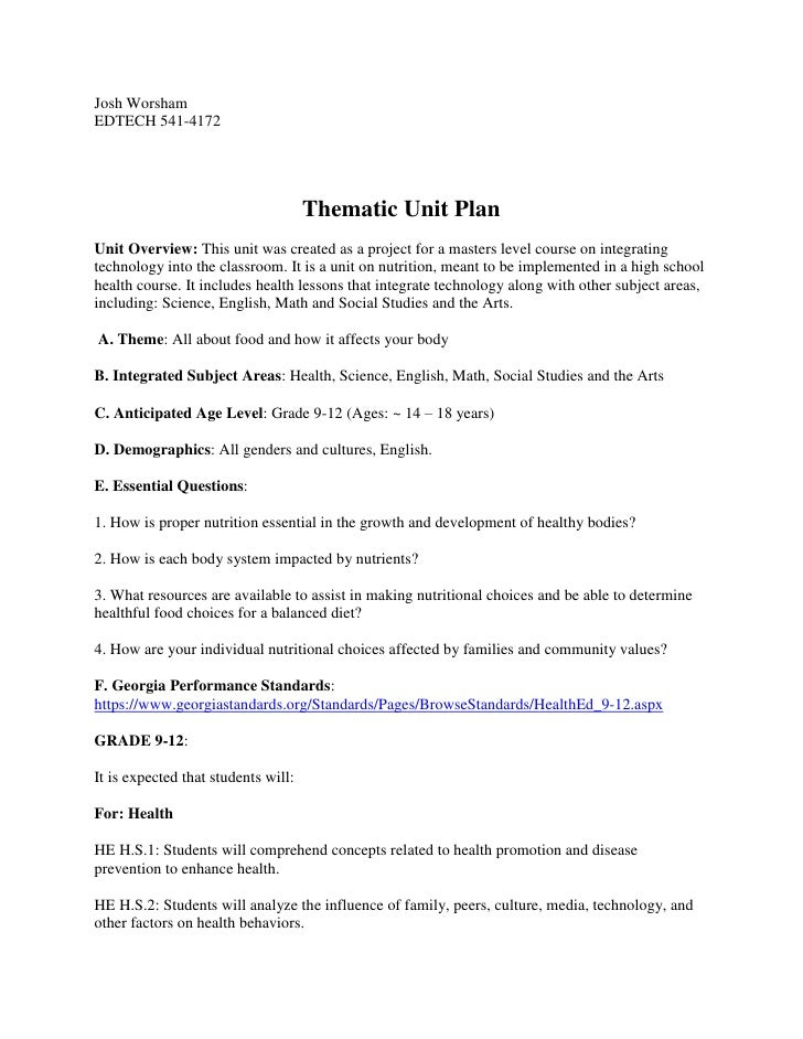 Thematic unit plan final