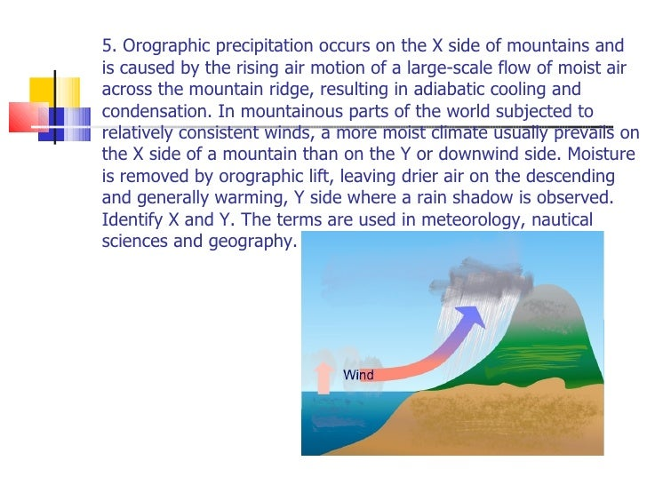 5. Orographic precipitation occurs on the X side of mountains and is caused by the rising air motion of a large-scale flow...