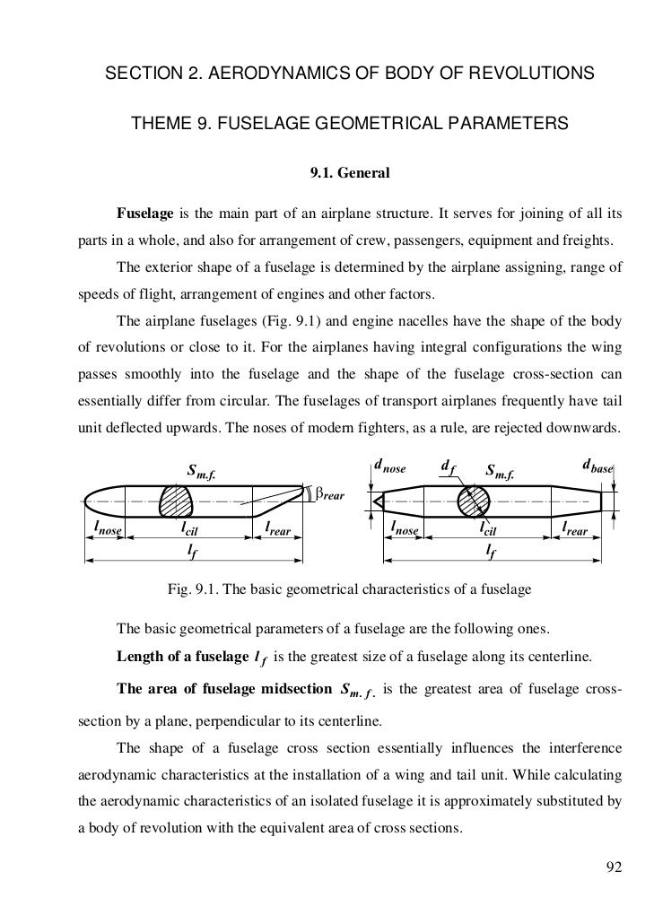 SECTION 2. AERODYNAMICS OF BODY OF REVOLUTIONS         THEME 9. FUSELAGE GEOMETRICAL PARAMETERS                           ...