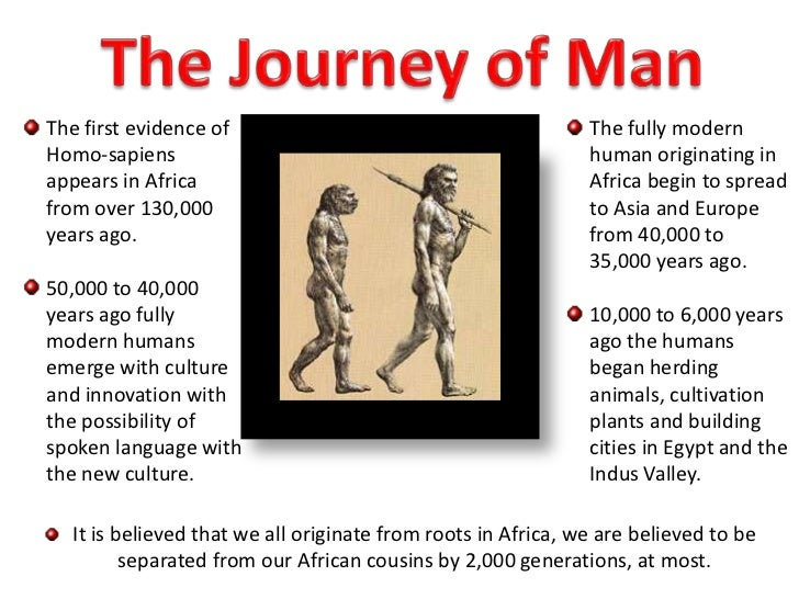 The Journey of Man<br />The first evidence of Homo-sapiens appears in Africa from over 130,000 years ago.<br />50,000 to 4...