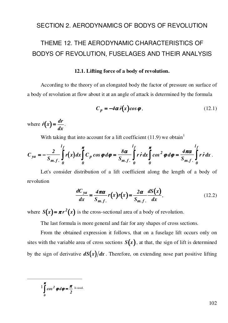 SECTION 2. AERODYNAMICS OF BODYS OF REVOLUTION      THEME 12. THE AERODYNAMIC CHARACTERISTICS OF  BODYS OF REVOLUTION, FUS...
