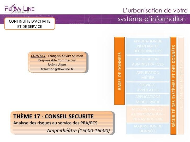 THÈME 17 - CONSEIL SECURITE Analyse des risques au service des PRA/PCS Amphithéâtre (15h00-16h00) CONTINUITE D'ACTIVITE ET...