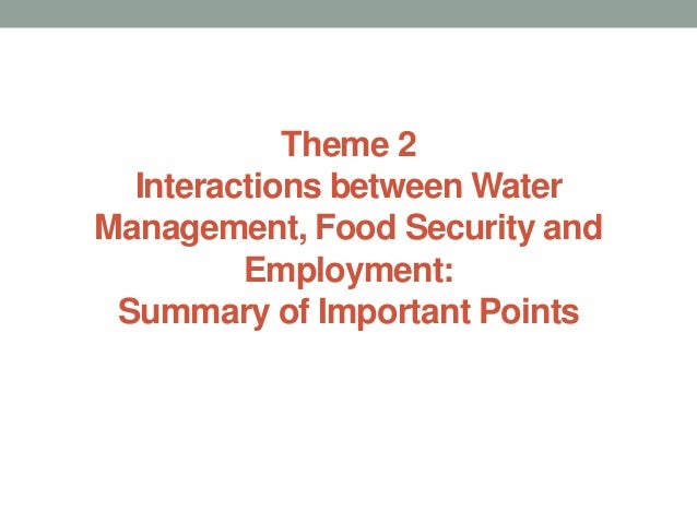Theme 2Interactions between WaterManagement, Food Security andEmployment:Summary of Important Points
