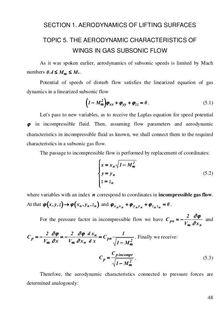 SECTION 1. AERODYNAMICS OF LIFTING SURFACES          TOPIC 5. THE AERODYNAMIC CHARACTERISTICS OF                          ...